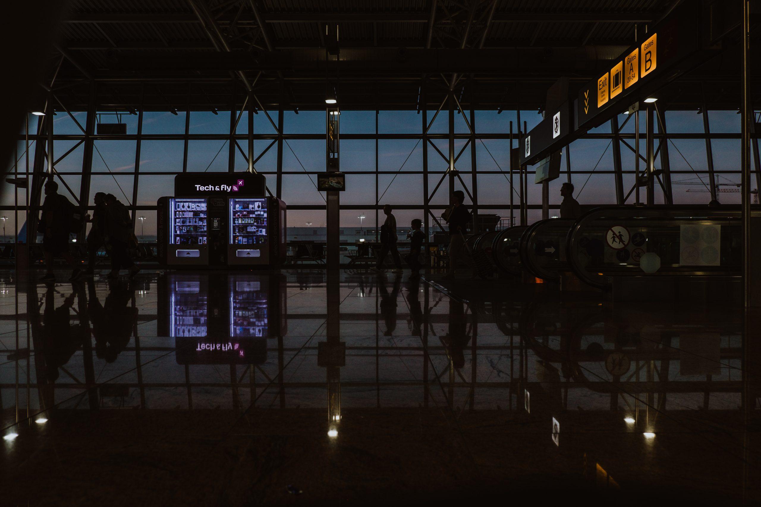 Gatwick airport at night